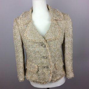 St John Gold Metallic Tweed Jacket Size 8